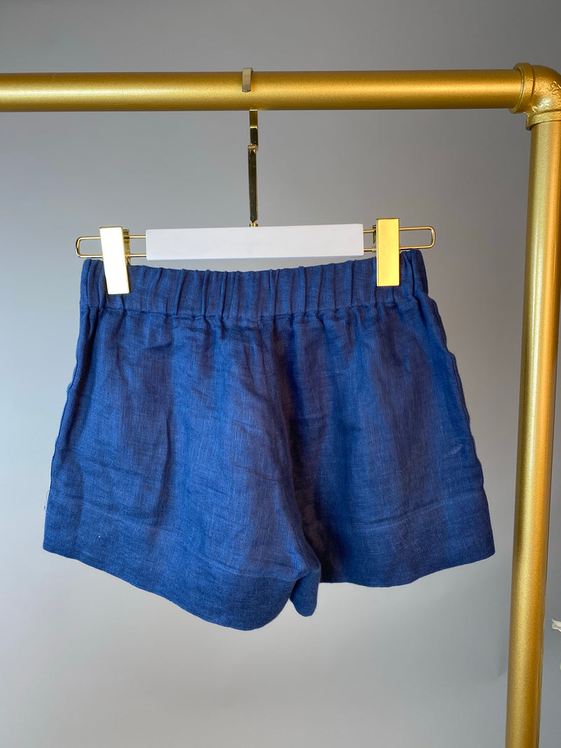 Vita Kin Blue Embroidered Linen Shorts Size XS