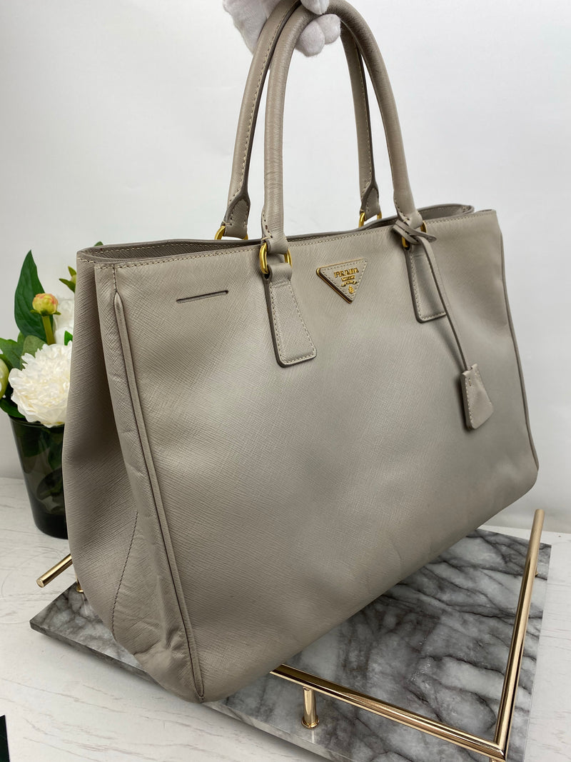 Prada Taupe Saffiano Tote Handbag with Gold Hardware