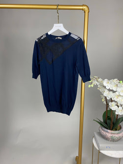 Nina Ricci Navy Blue and Black Cashmere Top Size S