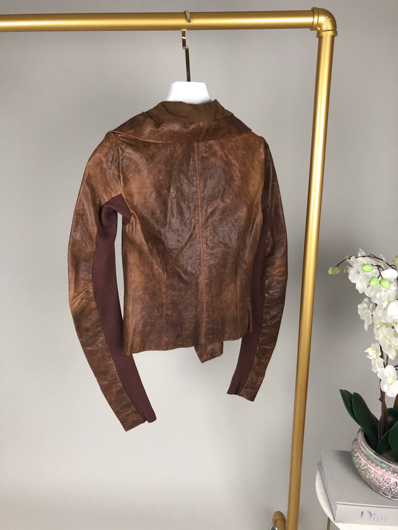 Rick Owens Distressed Leather and Knit Jacket Size XS (UK4)