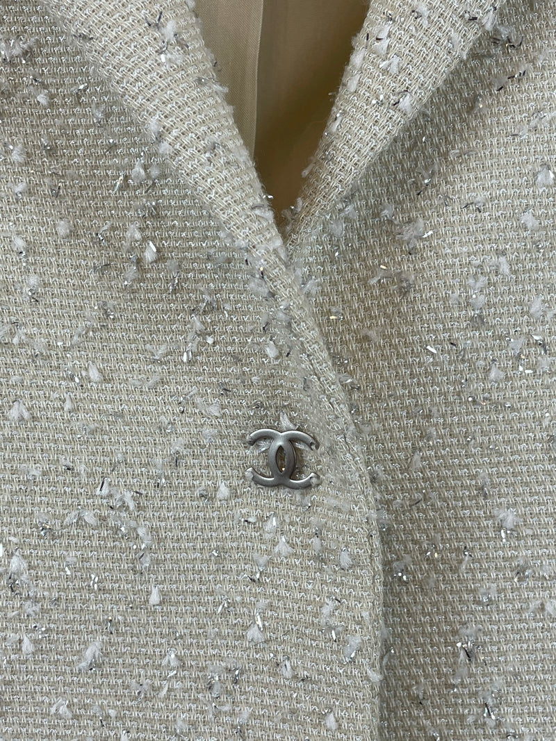 Chanel Cream and Silver Tweed Blazer Size 8UK
