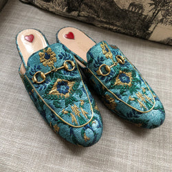 Gucci green and blue loafers size 39