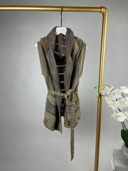 Missoni Gold and Beige Drape Sleeveless Cardi Size M