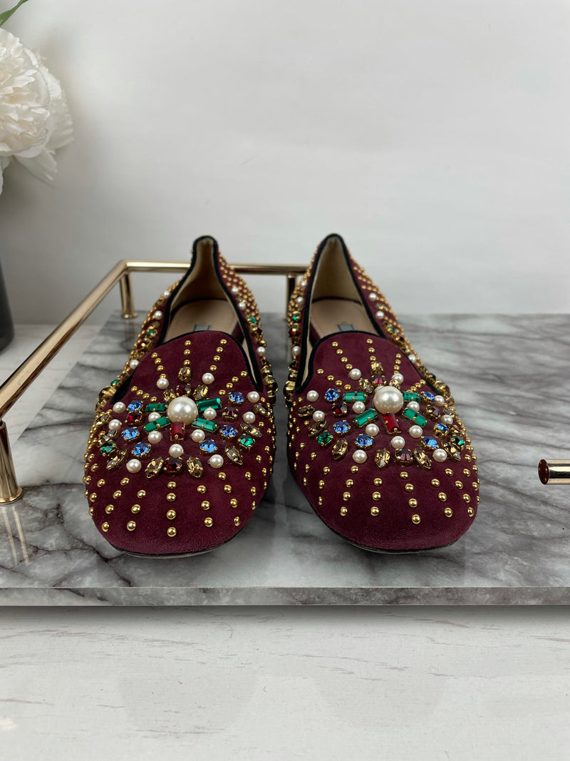 Prada Maroon Suede Embellished Loafers Size 40