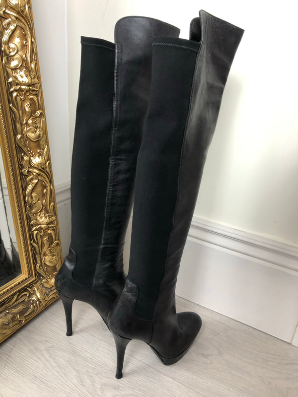 Stuart Weitzman Black Leather Stretch Heel Boots Size 8.5 (39)EU
