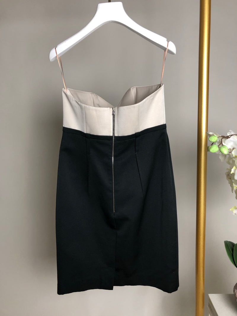 Paule KA Strapless Grey and Black Dress Size 40 (UK10-12)