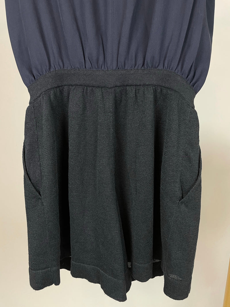 Chanel Black and Navy Linen Romper Playsuit Size 38 (UK 10)