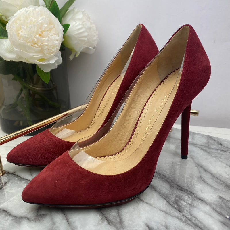 Charlotte Olympia Red Suede Heels with Perspex Detail Size 39