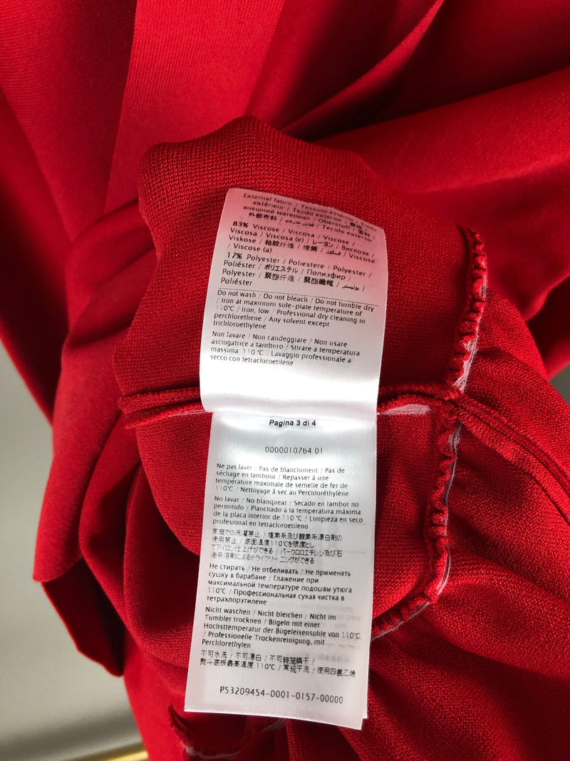 Valentino Red Shift Dress with Frill Hem Size S (UK8-10)