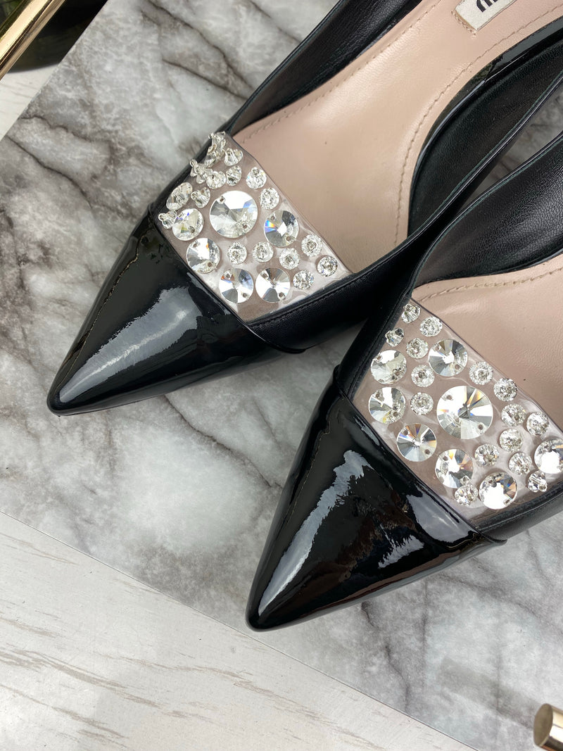 Miu Miu Black Low Heels with Patent and Crystal Pointed Toe Size 39