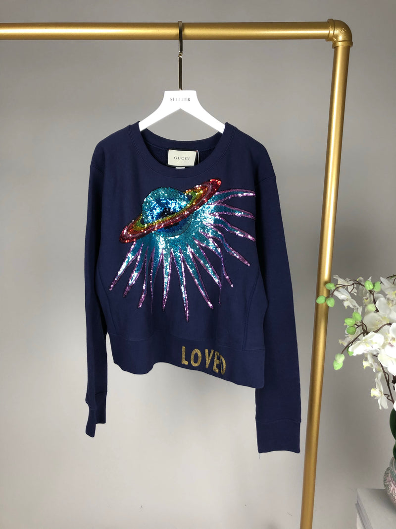 Gucci Navy Sequin Spaceship Jumper Size L (UK12-16)