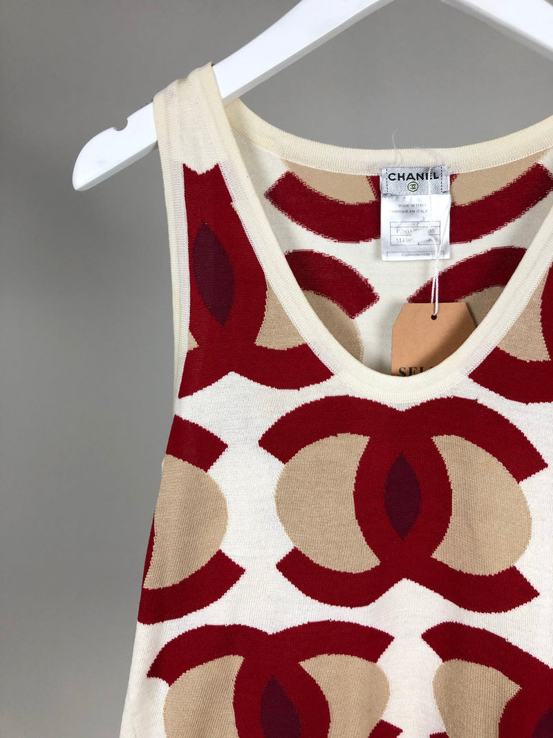 Chanel Cream and Red Top and Cardigan Set Size UK6-8