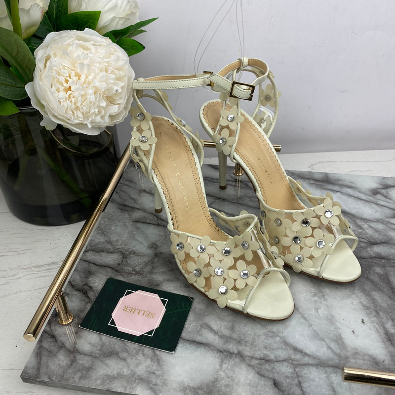 Charlotte Olympia Cream Floral Heels Size 38