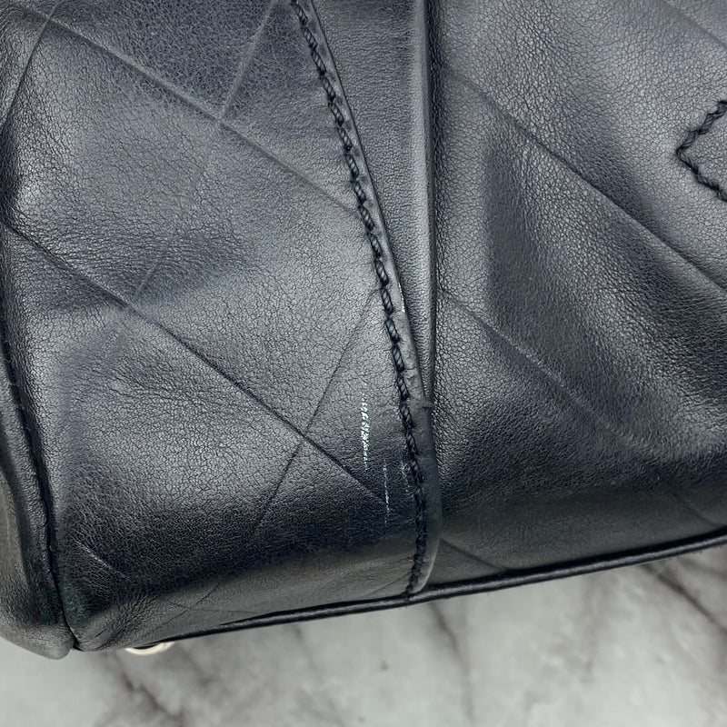Chanel Vintage Black Leather Handbag with Logo Stitching