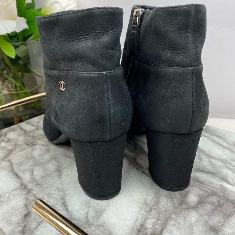Chanel Suede and Leather Toe Ankle Boots Size 41.5