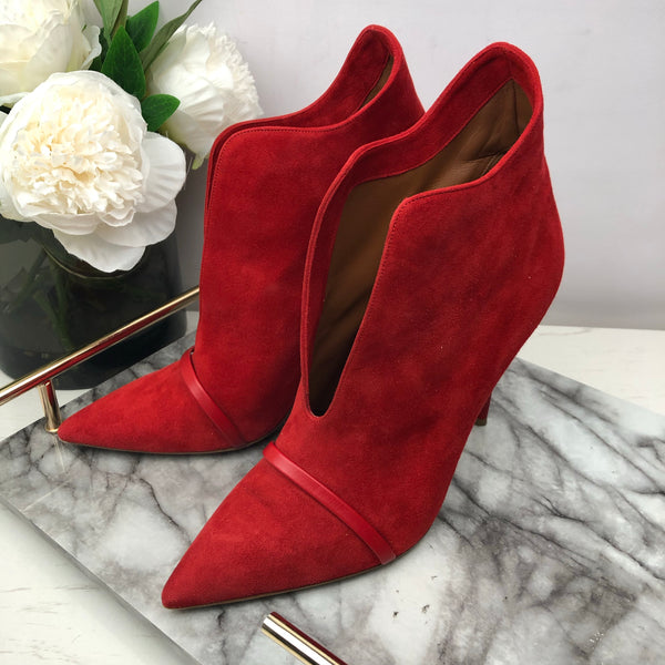 Malone Soulier Red Suede Heel Boots with Leather Strap Size 41