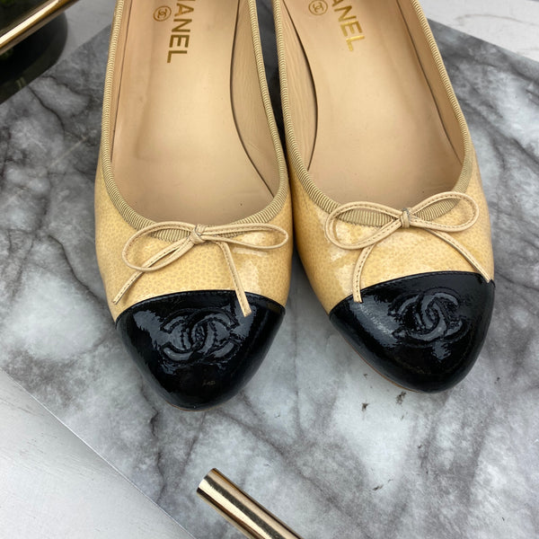 Chanel Patent Nude and Black Low Heel Ballerinas Size 41