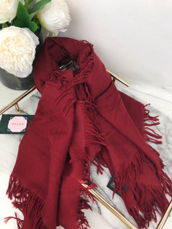 Gucci Deep Red Wool and Silk Monogram Scarf