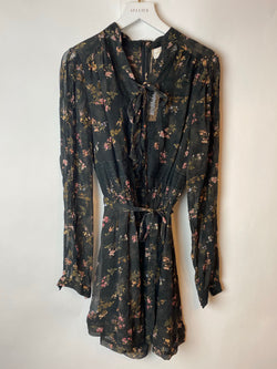 Zimmerman Black Floral Jumpsuit with Fabric Belt Tie Size 0 (UK 8)