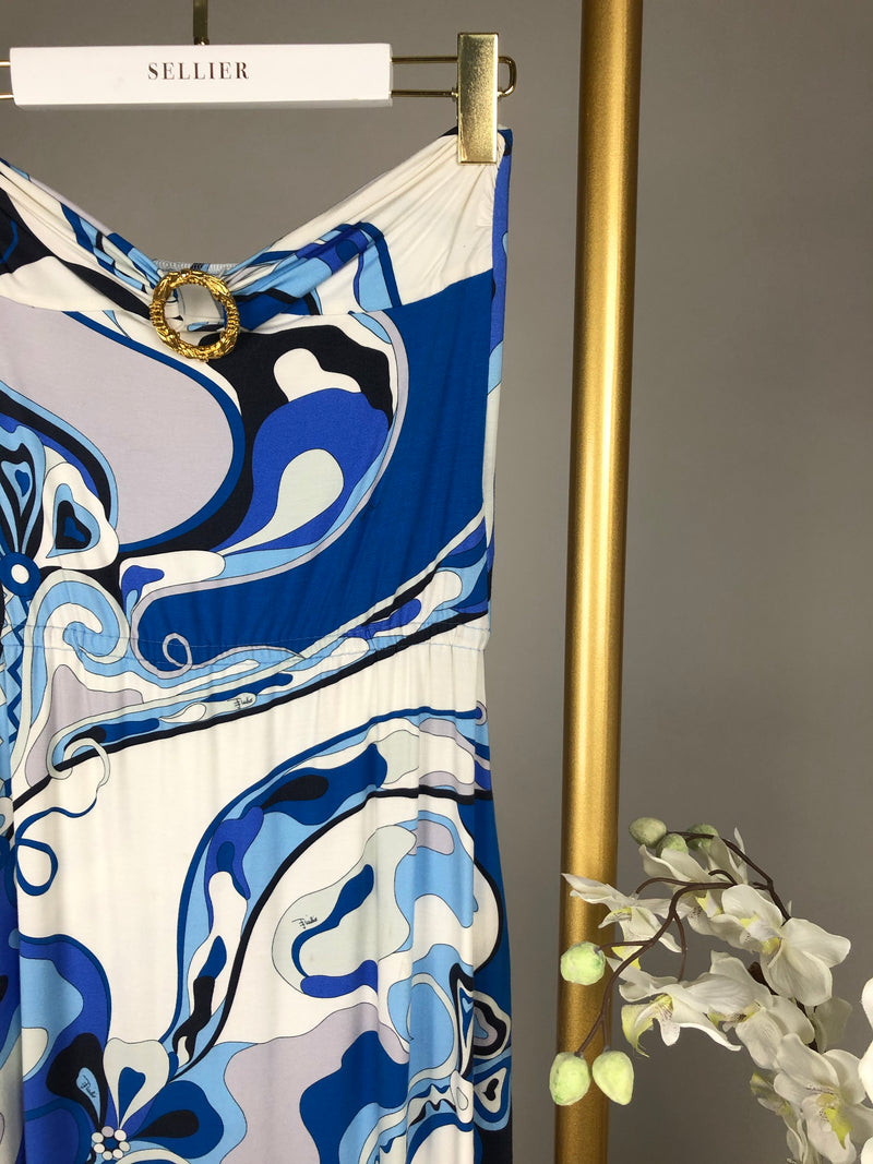 Emilio Pucci Blue Printed Maxi Bandeaux Dress Size 8UK