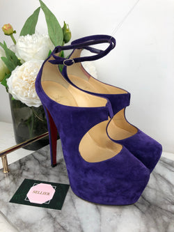 Christian Louboutin Purple Suede High Platform Heels Size 38.5