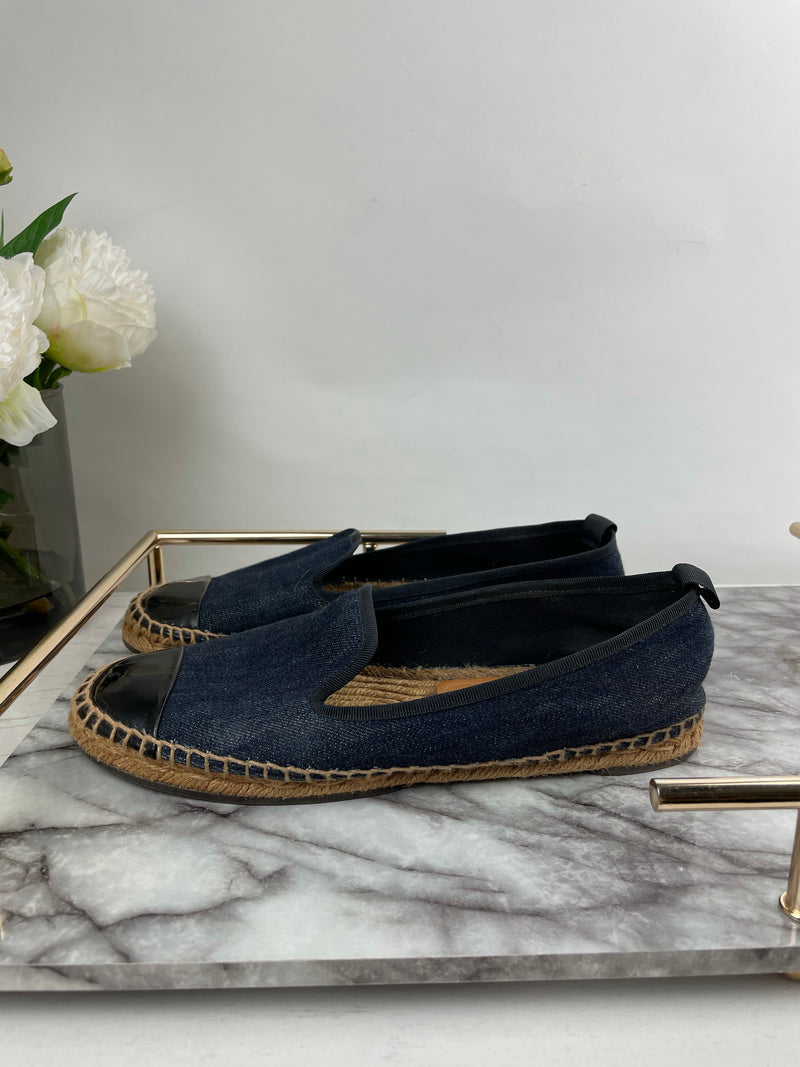 Fendi Blue Denim Espadrilles with Black Patent Toe Cap Size 38.5