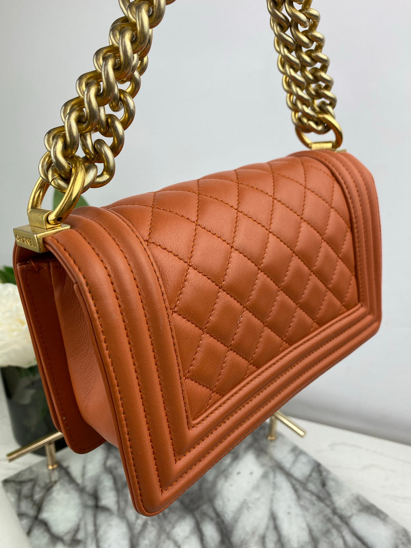 Chanel Burnt Orange Lambskin Quilted Small Boy Bag with Gold Hardware
