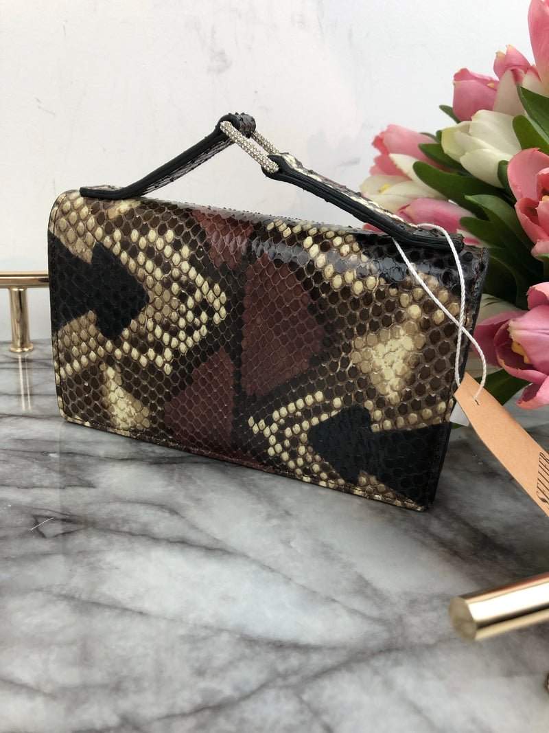 Valentino Brown Python Bag with Crystal Buckle Handle