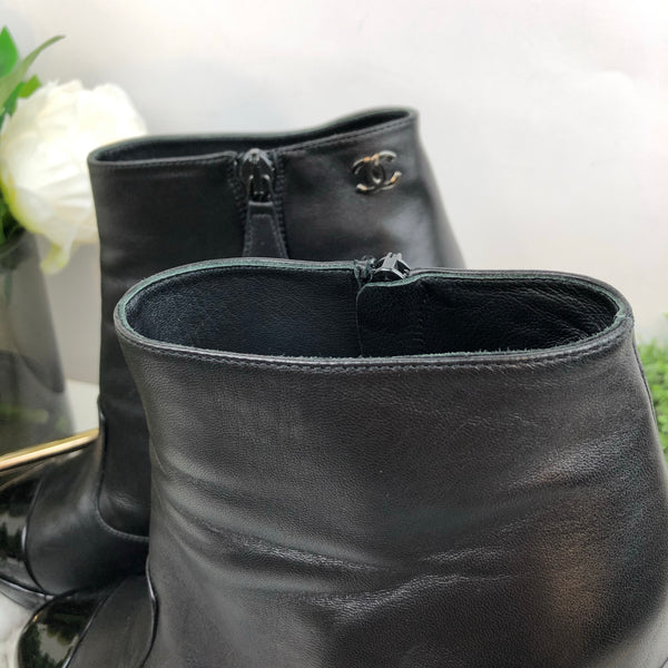 Chanel Black Patent Toe Heel Boots Size 39.5