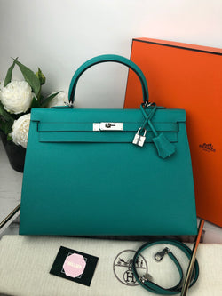 Hermes Kelly Sellier 35cm in Blue Aqua Epsom Leather and Palladium Hardware