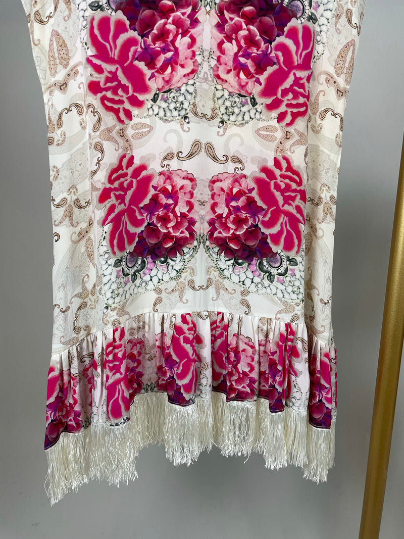 Athena Procopiou White and Pink Floral Silk Tassel Top Size S/M