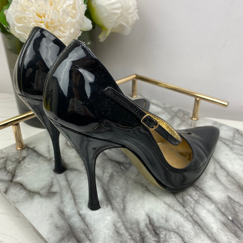 Dolce & Gabbana Black Pointed Heels with Side Buckle Size 37
