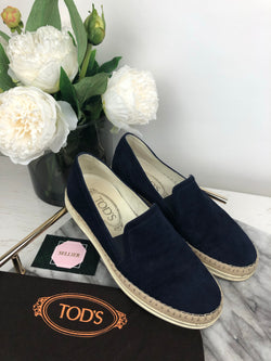 Tods Navy Suede and Canvas Espadrilles Size 35