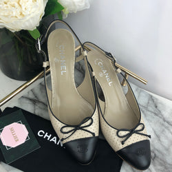 Chanel Low Heel Slingback Pumps Size 39