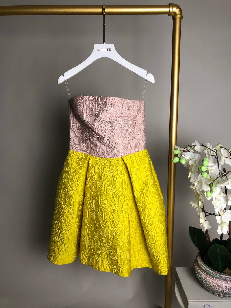 Mary Katranzou Pink and Yellow Embossed Dress Size 10UK