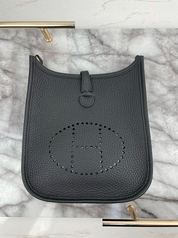 Hermes Mini Evelyne Bag 16cm in Black Clemence and Gold Hardware