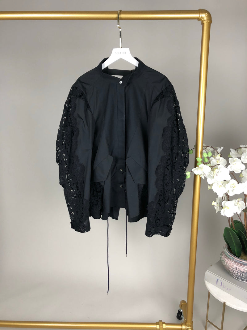Boutique Black Lace Shirt Size 10-12UK