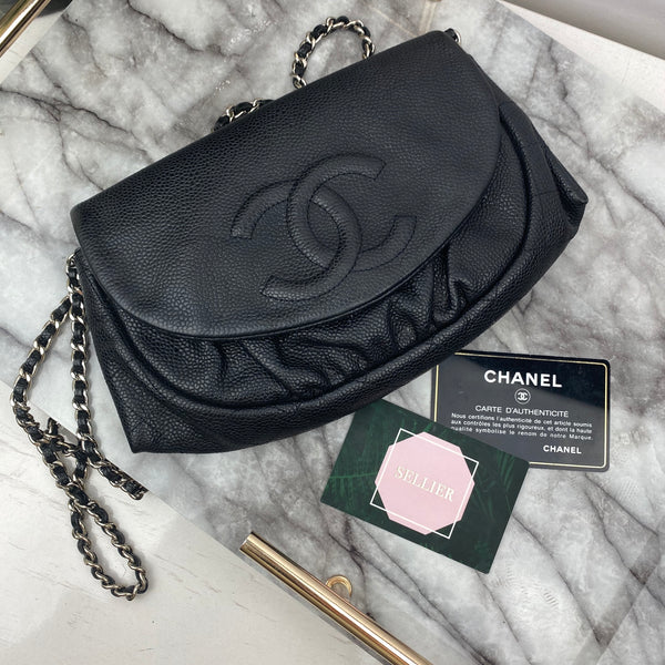Chanel Round Wallet On Chain in Black with Silver Hardware