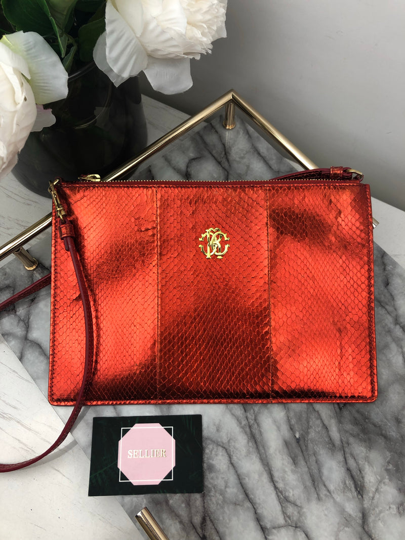 Roberto Cavalli Red Python Embossed Shoulder Bag