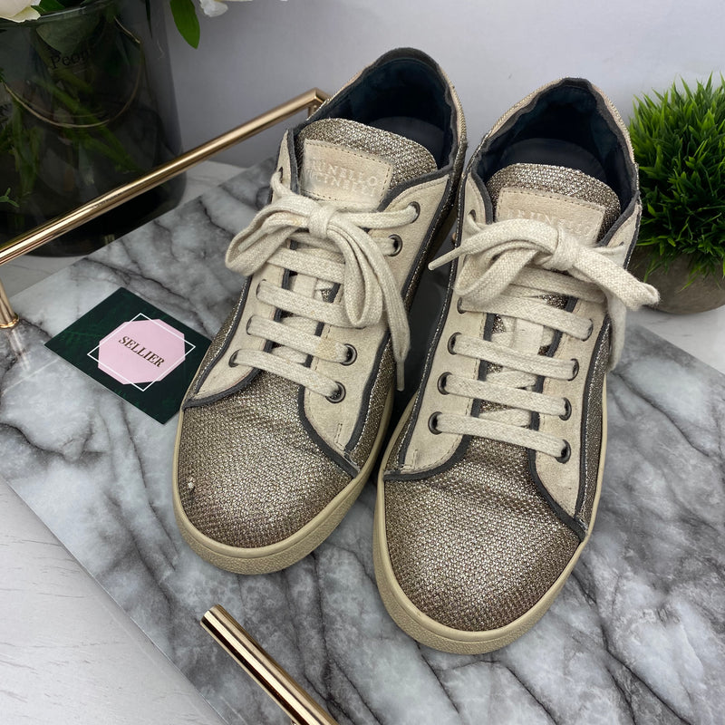 Brunello Cucinelli Beige and Silver Trainers Size 38