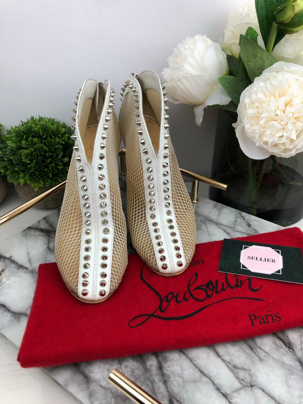 Christian Louboutin Nude and White Mesh Heels Size 37.5