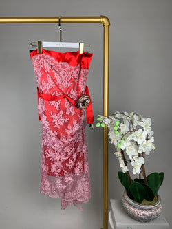 Dolce & Gabbana Red Lace Dress with Rose Size 46 (UK14)