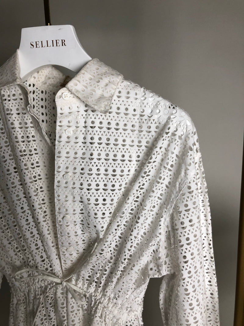 Alaia White Cut Out Shirt Dress with Tie Waist Size 36 (UK8)
