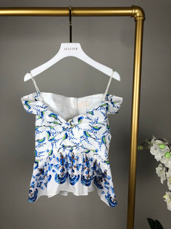 Peter Pilotto Blue and White Off The Shoulder Top Size UK6