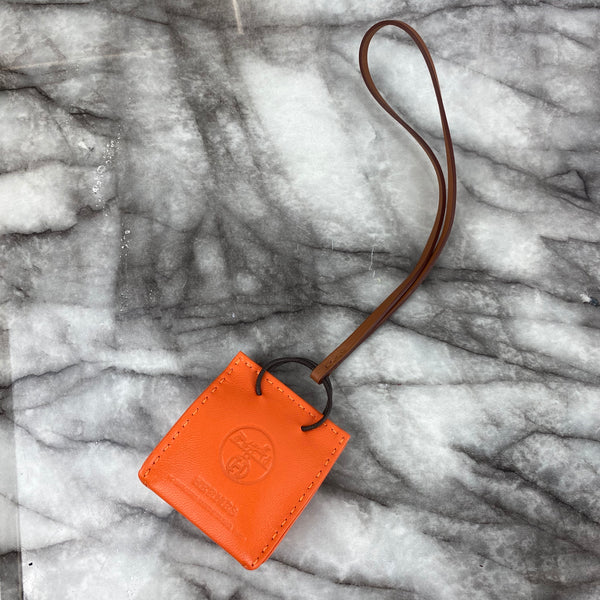 Hermes Orange Shopper Bag Charm