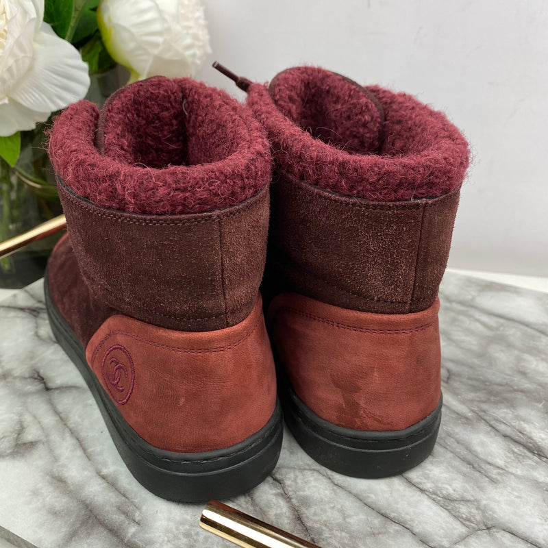 Chanel Red Suede Boots Size 37.5