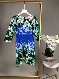 Oscar De La Renta Blue and Green Floral Print Dress Size UK8