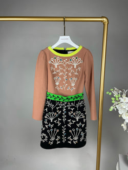 Peter Pilotto Beige and Navy Rhinestone Wool Dress Size 34