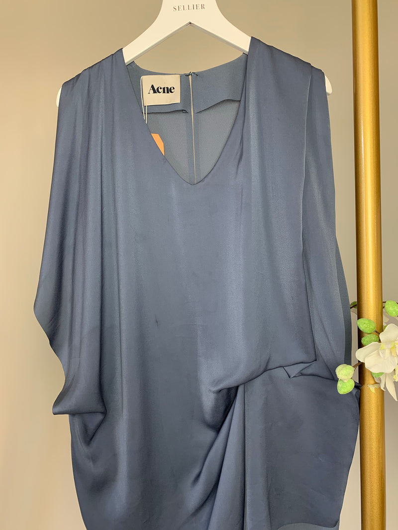 Acne Blue Draped Dress Size 36 (UK8)