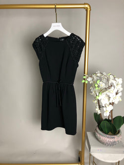 Andrew GN Black Waist Tie Dress with Embroidered Shoulders Size 36
